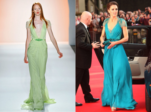 Kate Middleton wearing a Jenny Packham Spring 2012 dress