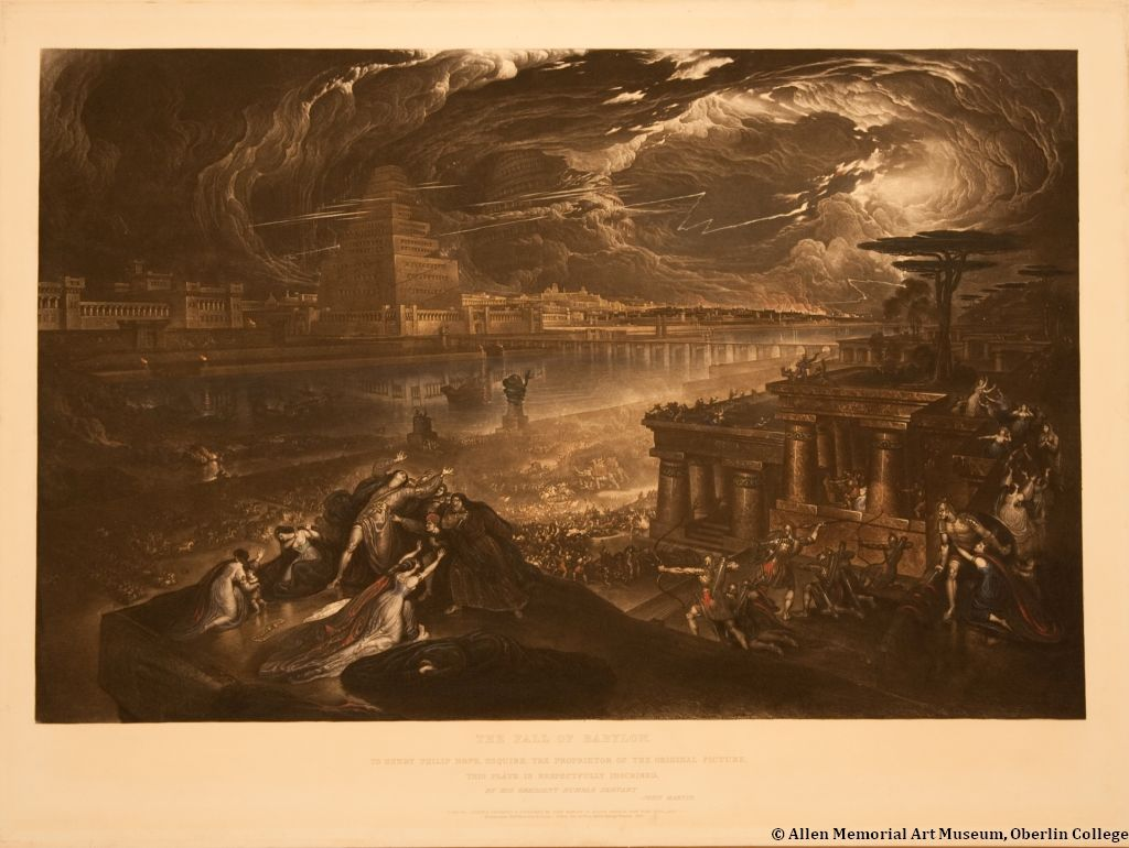 John Martin is known for sublime compositions with tiny figures overwhelmed by catastrophic landscapes, carefully delineated architectural structures, and a virtuoso rendering of perspective. An accomplished painter and printmaker, Martin produced more than one hundred mezzotints after his own work. The medium's rich tonal range suited the drama of subjects like The Fall of Babylon, which he engraved after one of his most important paintings. The hand-coloring attests the mezzotints' popularity, as it was probably added by the publisher during a later issuing to mask areas of the plate worn by earlier printings.Image:John Martin (English, 1789-1854)The Fall of Babylon, 1831Hand colored mezzotint; re-engraved lettered print Friends of Art Endowment Fund, 1974.60