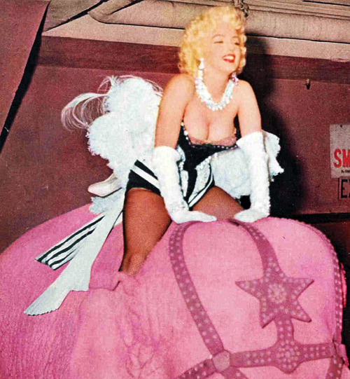 Marilyn Monroe rides a pink elephant at the Barnum and Bailey Circus Gala For Arthritis and Rheumatism Foundation at Madison Square Garden, 1955