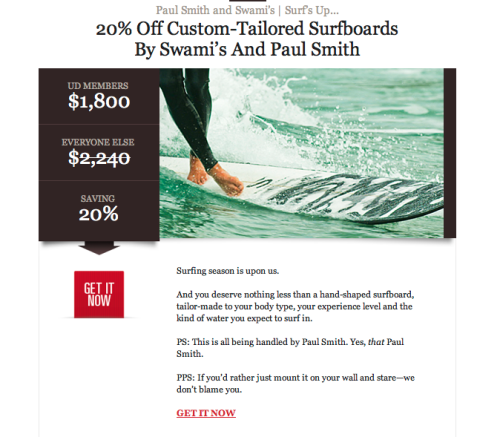 """Custom-Tailored?!?"" Lame. Stay out of the surf industry, Paul Smith…unless you decide to do something right, and on brand (for you, and for your collaboration). No wonder why you're offering a sale on this."