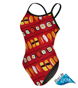 Fashionably SushiAfter a few laps in this swimsuit you deserve to indulge yourself with sushi.