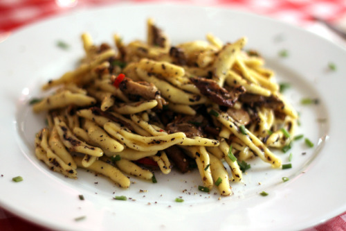 Trofie with black truffle and mushrooms