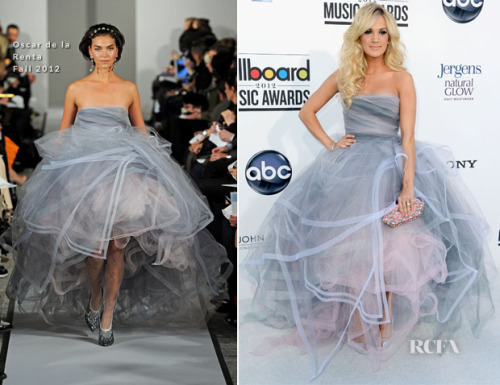 This could translate to bridal in a heartbeat. Carrie Underwood in Oscar de la Renta at the 2012 Billboard awards.