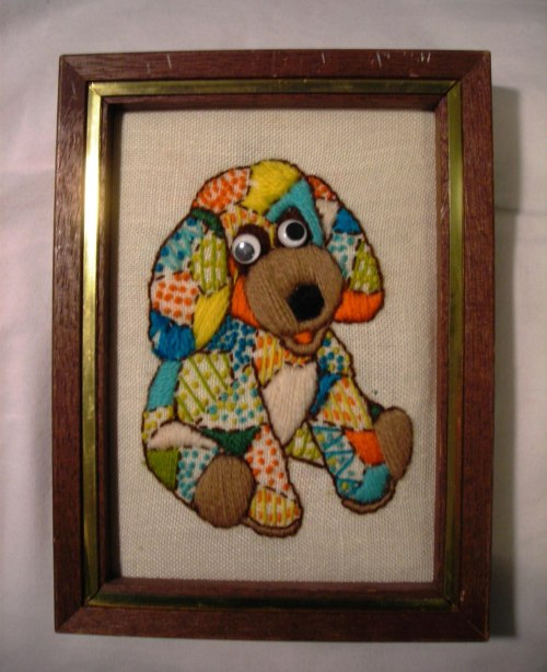 This is a stitched dog with googly eyes.