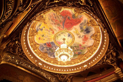 "Opera Garnier The ceiling area, which surrounds the chandelier, contains a new 1964 painting by Marc Chagall which was installed on a removable frame over the original and depicts scenes from operas by 14 composers – Moussorgsky, Mozart, Wagner, Berlioz, Rameau, Debussy, Ravel, Stravinsky, Tchaikovsky, Adam, Bizet, Verdi, Beethoven, and Gluck. Although praised by some, others feel Chagall's work creates ""a false note in Garnier's carefully orchestrated interior."""