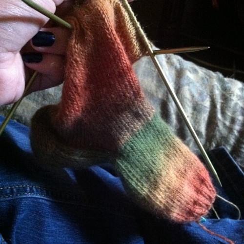 allielujah:  Reggae sock #knitting. (Taken with instagram)