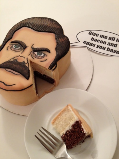 Ron Swanson Cake via Vulture