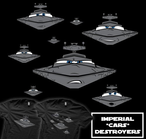 "Duh, duh, duh, du-du-du, du-du-du…. The Imperial Navy is on the…er…march and the ""Pixar Fleet"" is forming up. New t-shirt design, mashing up Star Wars and Cars, by maclac at Redbubble now.  Now, how does that tune go again?"
