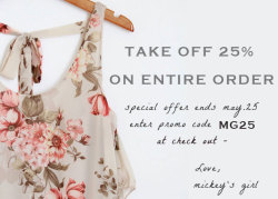 TAKE ADVANTAGE OF THIS SALE - 25% off entire sale! Yes- including sale items also- additional discount off of sale items!! offer ends soon!
