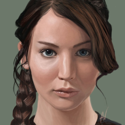 miss katniss everdeen by ~iMMuhUnic0rn i finished my katniss painting, i think lol =)