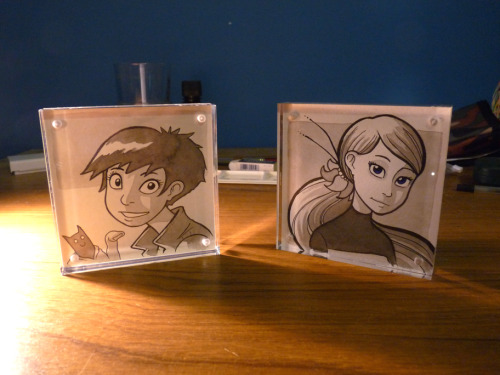 I made a few more 10x10 acrylic frames with ink wash pictures in them! Here are a couple of them. I'll be taking these to MCM, of course. These look so much nicer in real life, the photo doesn't do them justice.