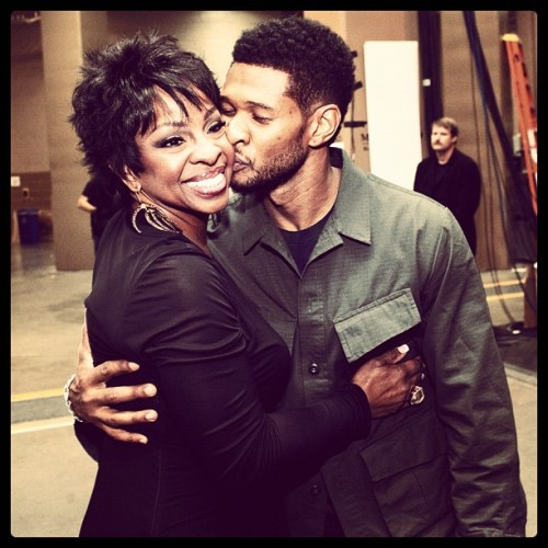 Usher kisses Gladys Knight backstage at the Billboard Music Awards. We miss hanging out back there! // (Taken with instagram) See more backstage photos from the 2012 BBMAs.