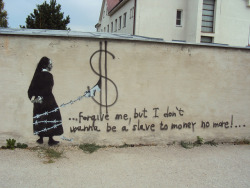 nun with a gun on Flickr.first streetart made by me..kill the money ..