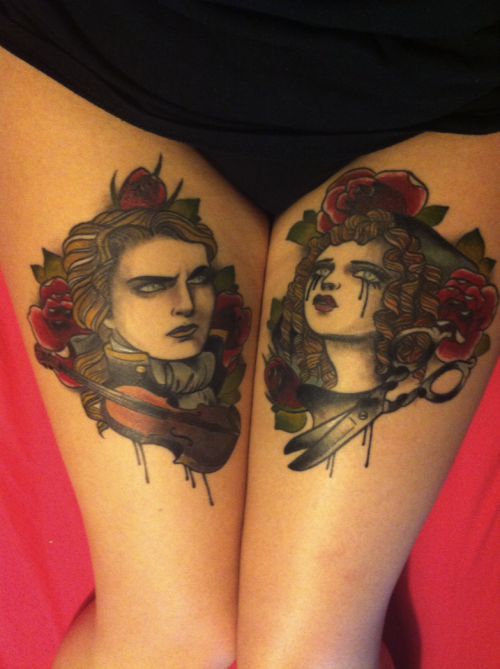 fuckyeahgirlswithtattoos:  Lestat and Claudia, finally finished !By Alix Ge, France.http://faithfultocastiel.tumblr.com