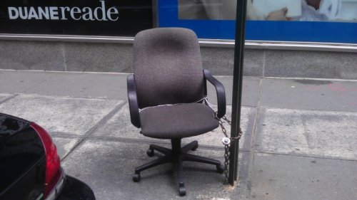 Office Chair Chained to Pole I have to lock it up. If someone steals it I won't have any way to get home.