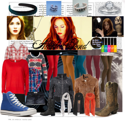 Amelia Pond by saveanimpalarideanangel featuring handcrafted ringsPlaid top$36 - amazon.comLeather jacket£30 - owntherunway.comH M genuine leather jacket£30 - hm.comHollister Co cotton skirt$40 - hollisterco.comCheap Monday short mini skirt27 CAD - eluxe.caVila clothe£28 - fashionunion.comBardot opaque hosiery$17 - bardot.com.auMiss Patina mustard tight$15 - modcloth.comTeal tight$15 - modcloth.comRed hosiery$15 - modcloth.comCorey Lynn Calter olive green tight$15 - modcloth.comOld navy$14 - amazon.comAmy Pond Doctor Who 2-Inch Button: My Skirt, My Husband, Your Glass…$2.50 - etsy.comSports trainer$45 - dsw.comLace up boots$30 - amazon.comVintage western boots$10 - sheplers.comBlue nile ring$3,200 - bluenile.comHandcrafted ring$11 - etsy.comAllSaints vintage scarve$95 - allsaints.comJigsaw linen shawl£39 - jigsaw-online.comAnn Harvey floral scarve£15 - houseoffraser.co.ukMimco hair accessorymimco.com.auNeon nail polish$20 - topshop.comKnitwear El Dorado Drop Hem Jumper15 AUD - jayjays.com.auDoctor Who Inspired - The Girl Who Waited Hand Stamped Aluminum Ring$12 - etsy.com