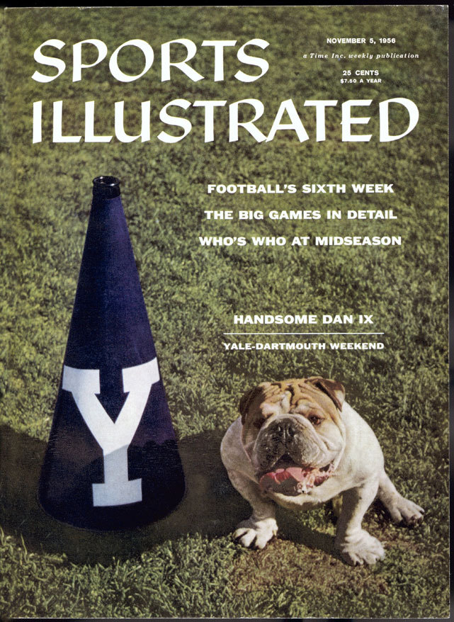 Yale's bulldog mascot, Handsome Dan, graces the cover of the Nov. 5, 1956 issue of Sports Illustrated. (Jerry Cooke/SI) GALLERY: Best Real Animal Mascots