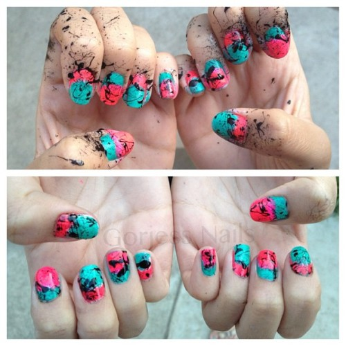 Before & after #gradient #splatter #mani thanks @tisems for the inspiration  (Taken with instagram)