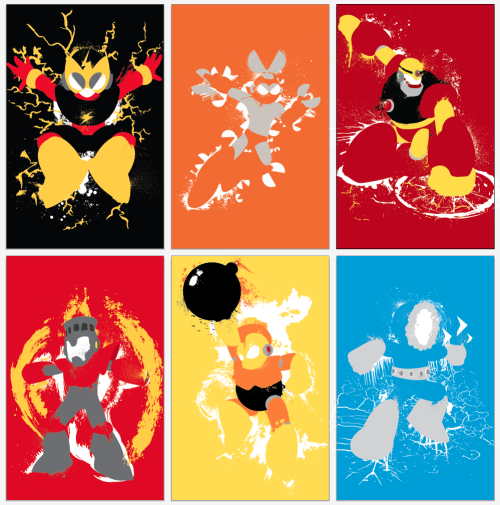 Here they are, all together!  The Robot Masters of Mega Man 1 - available as Posters at Etsy, or on shirts and iPhone cases at Redbubble!