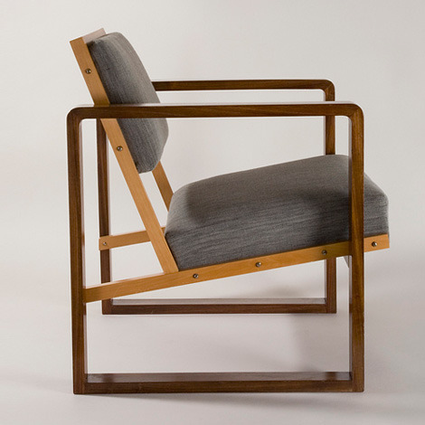 blauwebeker:  Club Chair from Oeser's home by Josef Albers, 1928, on show in Bauhaus: Art as Life, at London's Barbican Art Gallery.