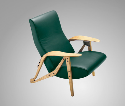 1954.  Gilda Arm Chair by Carlo Mollino. Oak dyed ash frame. Bronzed brass hardware. Four position adjustable seat. Polyurethane heat cound polyester fibre upholstery with suspension on steel springs. Leather cover.