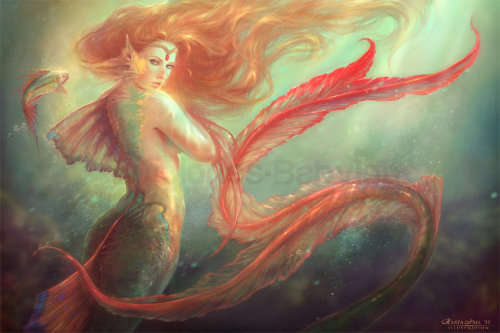 blade-of-woe:  Mermaid and her alter ego fish by `MartaNael