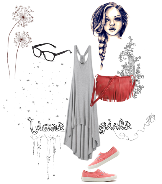 I have developed a new obsession with making little collages on Polyvore. A mix between cute outfits and cool illustration art to match? Perfect for us creative girls. I made this one using some of my favorite picks from the Vans Girls shop! You too can get your style on, with the Spicey Dress, Washed Authentic Slims, Fringed Up Cross-Body Purse, and Fakie Eyeglasses. -alyson