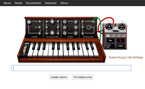 Google's MoogDoodle. Truly awesome. Happy birthday Bob!