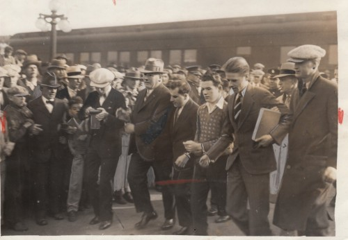 """Perp Walk""  Original Photo hand tinted and cropped for publication 1928 Collection Jim Linderman"