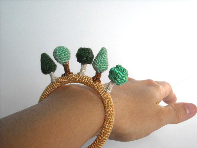 Wood crochet bracelet by biribis on Flickr.