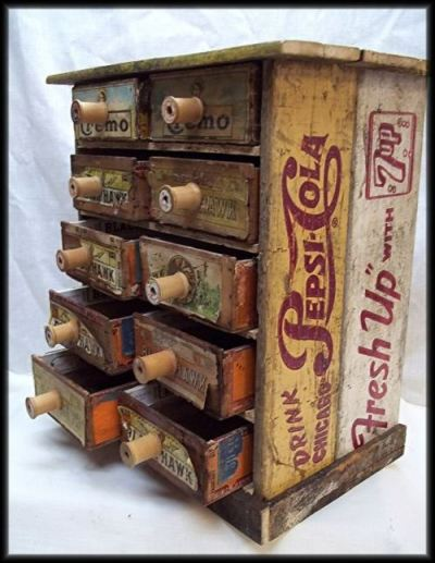 To add to the various uses of old crates, here are three other ideas. Perhaps one will help inspire you to repurpose a vintage soda crate or two. Storage, with cigar box drawers and spool knobs, via CigarBoxGuitar.com End table, from JoyfulHouseFarms on Etsy  Spice rack, via Nine Red  Have you spotted different crate-reuse examples you think we should know about?
