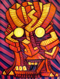 Impasto Pablo-Cubist Tiki 18x24 acrylic on canvas