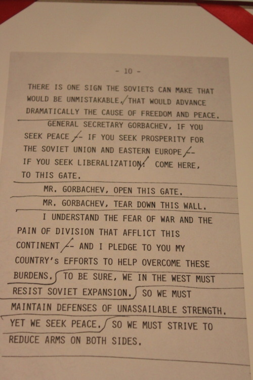 Reagan's notes for his speech at the Brandenburg Gate.  http://www.youtube.com/watch?v=WjWDrTXMgF8