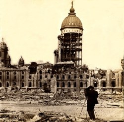 Ruins of San Francisco City Hall after the earthquake, 1906. Griffith & Griffith