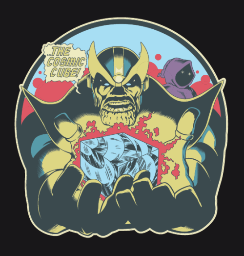 hezaakun:  Thanos and the cosmic cube! Art recreated from interior panel art of Captain Marvel issue #28 BUY THE SHIRT!