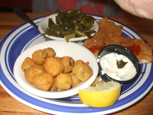 Jestine's Kitchen, Charleston SC. Pan fried flounder, fried okra, collard greens.