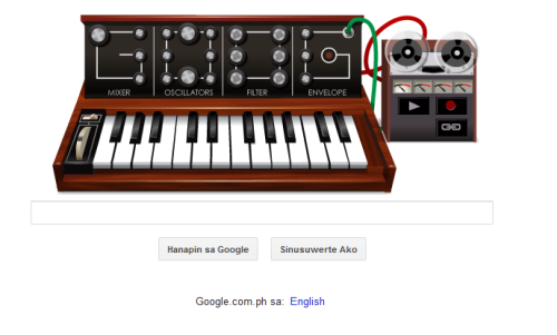 So I can't stop recording and mixing sounds…. #Google Robert Moog 78th Birthday :)
