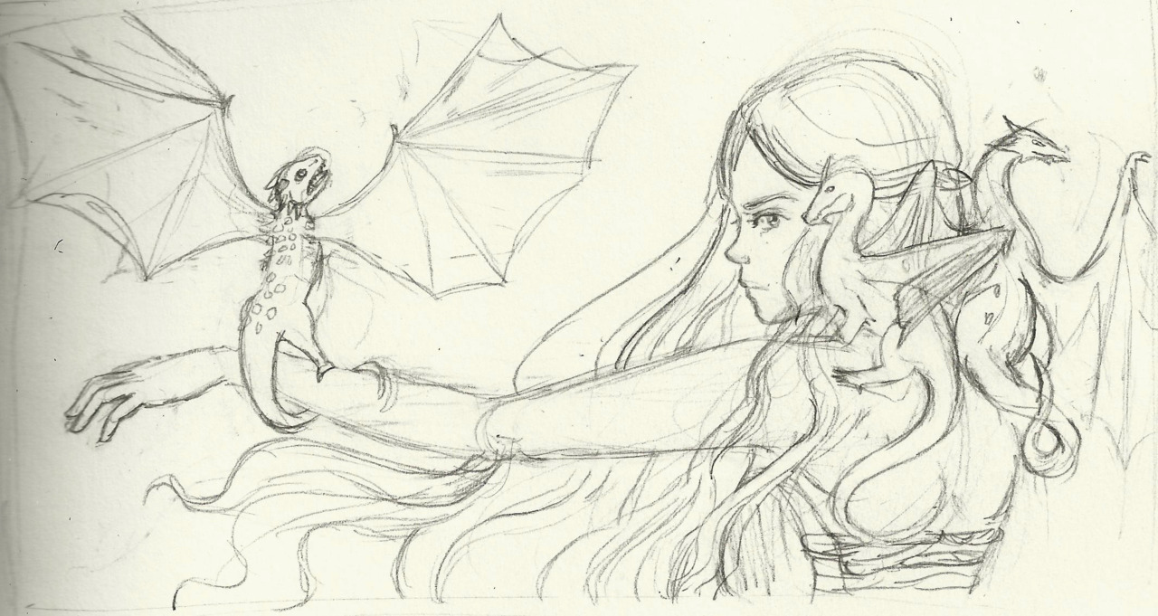 A sketch I did for a Game of Thrones Print! Mother of Dragons! Daenerys is probably one of my favorite characters besides Arya. I can't get enough of these bad ass babes *3* I will be painting this baby up soon so check back later to be dazzled by the finished version.