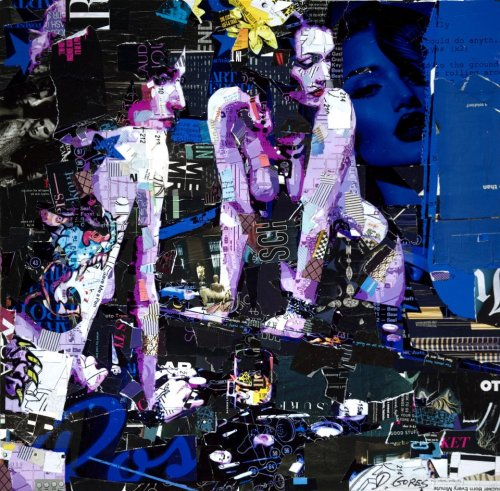 "Derek Gores ""Could Do Anything""  Collage on canvas 24"" x 24""  Part of 'Synergy' - a dynamic group show curated by Thinkspace Gallery, on view the month of May at Spoke Art San Francisco. View the entire show here - https://spoke-art.myshopify.com/collections/synergy-a-thinkspace-curated-show"