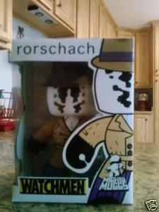 Here's a custom Mighty Mugg Rorschach from Watchmen that I painted a really long time ago. I was really pleased with how the package turned out.  I ended up selling it on the Ebay for like 40 bucks or something. -Andrew