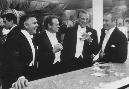 Clark Gable, Van Heflin, Gary Cooper and Jimmy Stewart. New Year's Eve, 1957