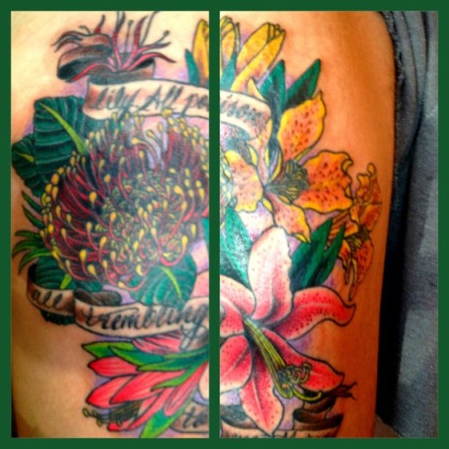 madebylaurenb:  Freshly finished #flower #tattoo on Kyle (Taken with instagram)  This is why I'm sleeping on my side.