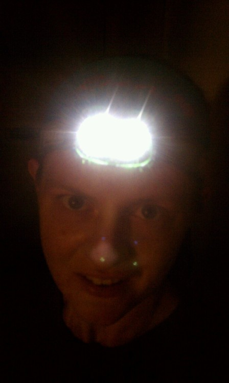 Headlamp Jess takes all the precautions for safety at nighttime.