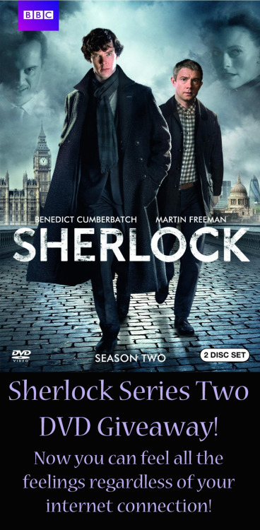 mathandcello:  In honor of Sherlock series two coming out on DVD in the U.S. today I'm giving away three copies of this deliciousness! Rules: Anyone can enter and I'll ship anywhere. You must reblog this in order to be entered.  There are free DVD's sitting around.  Reblog and spread the word. You may reblog this as many times as you want between now and the end of the giveaway. You do not have to follow me to win. You don't even have to like me as a person to win. The giveaway will end at noon CST on June 3rd. Things you need to know: These are Region 1 NTSC DVD's so they will not play in every DVD player around the world.  If you have questions about that, please ask. These are brand new DVD's and will arrive in their sexy shrink wrap. You can only win one copy of the DVD. You have to have your ask box turned on in order for me to contact you if you win.  If you don't have your ask box on when the giveaway is over then I'll pick someone else.   There are three copies of Sherlock series two up for grabs here.  That means there will be three winners.  Series one is not included. Winners will be decided by a random number generator (random.org).  Each reblog will get a number and if your number is chosen then you've won.  Hooray!  Once someone has won I will remove their name from the list and choose the next winner. If you want to enter but would like me to ship the DVD to a friend in the event that you win (for instance, if you live on the other side of the pond but know someone on this side who would like it) that is perfectly fine. My ask is always open if you have any questions.