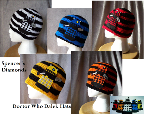 All 5 Dalek hats modeled after the Dalek Paradigm. Available at Spencer's Diamonds etsy