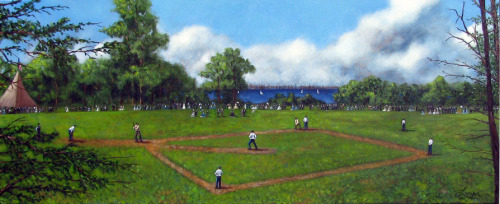 On 19 June 1846, one of the first officially recorded, organized baseball matches was played under Alexander Joy Cartwright's rules on Hoboken's Elysian Fields with the New York Base Ball Club defeating the Knickerbockers 23-1. Cartwright umpired. Here is my painting based on a wood cut from that famous game.