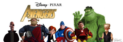iheartchaos:  Fan art of the day: The Avengers, re-assembled with Pixar characters By JM Walter Via