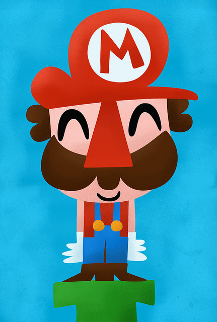 Here we go! Mario illustrated by Pablo Ruedachan :: via flickr.com