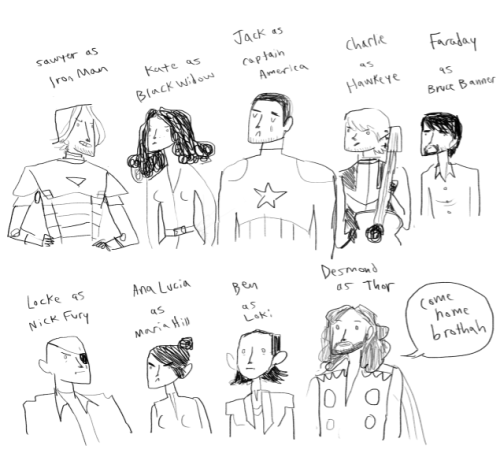gingerhaze:  The most ridiculous thing I have done today is draw the Avengers as LOST characters. Bonus: