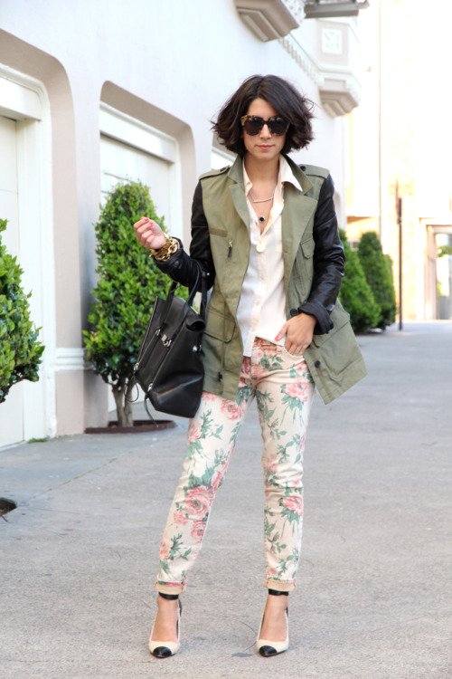 the-streetstyle:  Floral Stems  her shoes. her pants. the coat. looove.